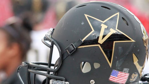 October 15 2016: The helmet of the Vanderbilt Commodores. The Vanderbilt Commodores defeated the Georgia Bulldogs 17-16 at Sanford stadium in Athens, Georgia. (Photo by Charles Mitchell/Icon Sportswire) (Icon Sportswire via AP Images)