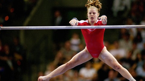 18 Aug 2000:  Vanessa Atler is doing her routine in the Uneven Bars Event during the U.S. Women's Olympic Gymnastics Trials at the Fleet Center in Boston, Massachusetts.Mandatory Credit: Matthew Stockman  /Allsport
