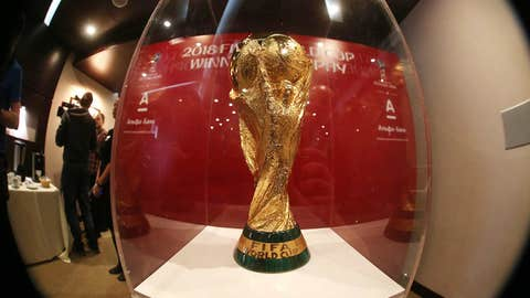 MOSCOW, RUSSIA - APRIL 13, 2017: The 2018 FIFA World Cup winner's trophy unveiled. Dmitry Serebryakov/TASS (Photo by Dmitry SerebryakovTASS via Getty Images)