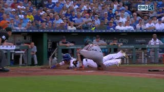 WATCH: Salvy sneaks around tag at home to score for Royals