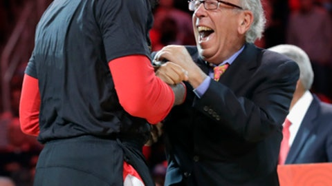 HOUSTON, TX - FEBRUARY 03: Houston Rockets owner Leslie Alexander celebrates with James Harden #13 of the Houston Rockets after the jersey retirement of Yao Ming during halftime against the Chicago Bulls at Toyota Center on February 3, 2017 in Houston, Texas. NOTE TO USER: User expressly acknowledges and agrees that, by downloading and or using this photograph, User is consenting to the terms and conditions of the Getty Images License Agreement.  (Photo by Tim Warner/Getty Images)