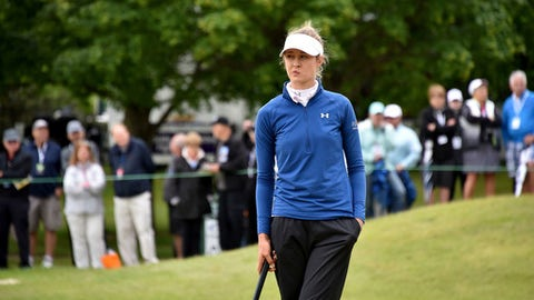 Nelly Korda reacts on the 18th hole during the first round of the Volvik Championship LPGA golf tournament at Travis Pointe Country Club in Ann Arbor, Mich., Friday, May 26, 2017.  (Dale G Young/Detroit News via AP)