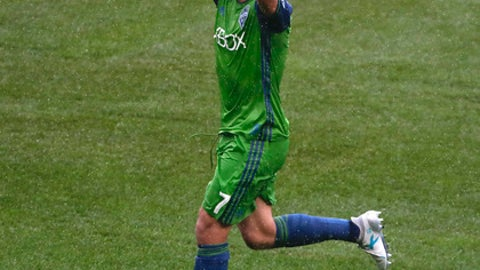 Seattle Sounders midfielder Cristian Roldan (7) reacts after scoring a goal against New York City FC during the first half of a Major League Soccer game, Saturday, June 17, 2017, in New York. (AP Photo/Julie Jacobson)