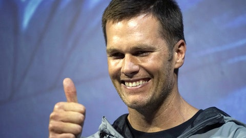 New England Patriots quarterback Tom Brady gestures during a promotional event Thursday, June 22, 2017, in Tokyo. The Super Bowl-winning quarterback is on a week long promotional tour of China and Japan for a sportswear maker. (AP Photo/Eugene Hoshiko)
