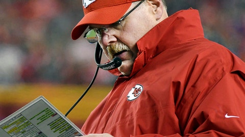 FILE - In this Jan. 15, 2017, file photo, Kansas City Chiefs head coach Andy Reid looks over his play card during the first half of an NFL divisional playoff football game against the Pittsburgh Steelers in Kansas City, Mo. Reid, who was entering the final year of a five-year deal, has signed a contract extension with the Kansas City Chiefs. The terms of the extension were not announced Thursday, June 22, 2017.  (AP Photo/Ed Zurga, File)