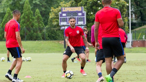 Dom Dwyer receives the ball during U.S. Men's National Team training at Lipscomb University in Nashville, Tenn., on Monday, June 26, 2017. It was Dwyer's first invitation to the team after gaining his U.S. citizenship in March. The team is preparing for a friendly against Ghana on July 1 and the opening of the Gold Cup tournament against Panama on July 8. (AP Photo/Erik Schelzig)