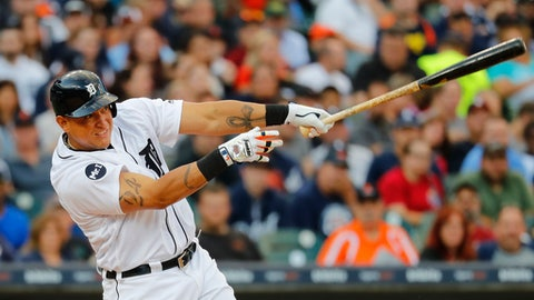 Detroit Tigers' Miguel Cabrera hits a three-run home run against the Kansas City Royals during the third inning of a baseball game in Detroit, Tuesday, June 27, 2017. (AP Photo/Paul Sancya)