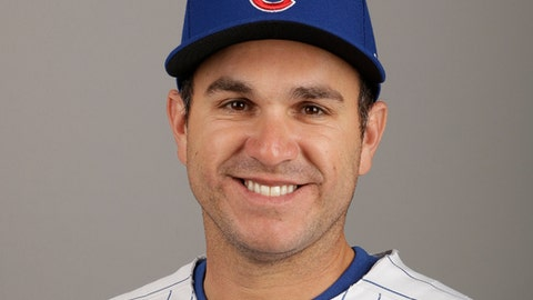 FILE - This is a 2017 file photo showing Miguel Montero of the Chicago Cubs baseball team.  Montero says the Chicago Cubs are letting him go, one day after he blamed pitcher Jake Arrieta for allowing seven stolen bases in a game. Montero posted a series of tweets Wednesday, June 28, 2017, saying goodbye to fans and the city of Chicago and said on WMVP-AM radio that the Cubs had called to tell him they were designating him for assignment.(AP Photo/Morry Gash, File)