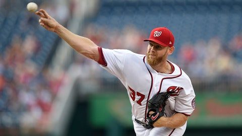 Washington Nationals starter Stephen Strasburg delivers a pitch during the first inning of the team's baseball game against the Chicago Cubs, Wednesday, June 28, 2017, in Washington. (AP Photo/Nick Wass)