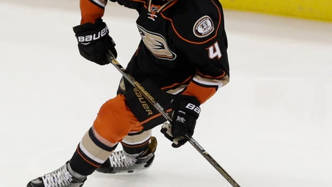 FILE - In this May 20, 2017, file photo, Anaheim Ducks defenseman Cam Fowler plays against the Nashville Predators during the first period of Game 5 in the NHL hockey Stanley Cup Western Conference finals in Anaheim, Calif. The Ducks have signed Fowler to an eight-year, $52 million contract extension through the 2025-26 season on Saturday, July 1, 2017. (AP Photo/Chris Carlson, File)