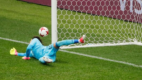 Mexico goalkeeper Guillermo Ochoa deflects the ball during the Confederations Cup, third place soccer match between Portugal and Mexico, at the Moscow Spartak Stadium, Sunday, July 2, 2017. (AP Photo/Alexander Zemlianichenko)