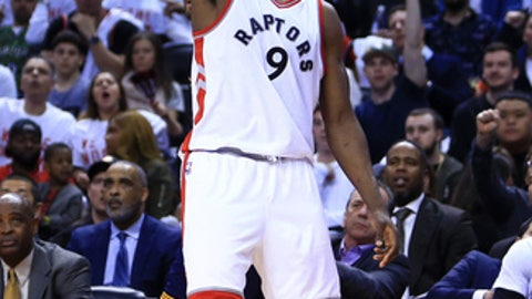 TORONTO, ON - MAY 07:  Serge Ibaka #9 of the Toronto Raptors shoots the ball in the second half of Game Four of the Eastern Conference Semifinals against the Cleveland Cavaliers during the 2017 NBA Playoffs at Air Canada Centre on May 7, 2017 in Toronto, Canada.  NOTE TO USER: User expressly acknowledges and agrees that, by downloading and or using this photograph, User is consenting to the terms and conditions of the Getty Images License Agreement.  (Photo by Vaughn Ridley/Getty Images)
