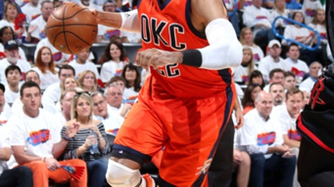 OKLAHOMA CITY, OK- APRIL 23: Taj Gibson #22 of the Oklahoma City Thunder handles the ball during the game against the Houston Rockets in Game Four during the Western Conference Quarterfinals of the 2017 NBA Playoffs on April 23, 2017 at Chesapeake Energy Arena in Oklahoma City, Oklahoma. NOTE TO USER: User expressly acknowledges and agrees that, by downloading and or using this photograph, User is consenting to the terms and conditions of the Getty Images License Agreement. Mandatory Copyright Notice: Copyright 2017 NBAE (Photo by Layne Murdoch/NBAE via Getty Images)