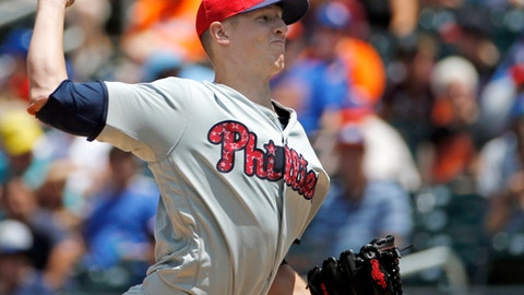 Philadelphia Phillies starting pitcher Nick Pivetta (43) delivers during the first inning of a baseball game against the New York Mets, Sunday, July 2, 2017, in New York. (AP Photo/Kathy Willens)