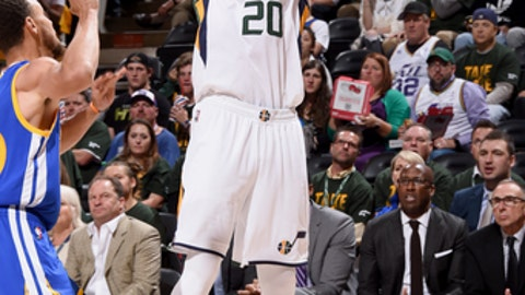 SALT LAKE CITY, UT - MAY 8:  Gordon Hayward #20 of the Utah Jazz shoots the ball against the Golden State Warriors during Game Four of the Western Conference Semifinals of the 2017 NBA Playoffs on May 8, 2017 at vivint.SmartHome Arena in Salt Lake City, Utah. NOTE TO USER: User expressly acknowledges and agrees that, by downloading and/or using this Photograph, user is consenting to the terms and conditions of the Getty Images License Agreement. Mandatory Copyright Notice: Copyright 2017 NBAE (Photo by Andrew D. Bernstein/NBAE via Getty Images)
