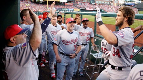 Washington Nationals' Bryce Harper, right, is congratulated by teammates after hitting a two-run home run during the third inning of a baseball game against the St. Louis Cardinals, Sunday, July 2, 2017, in St. Louis. (AP Photo/Jeff Roberson)