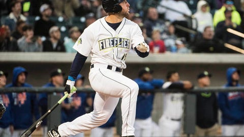 FILE - In this April 6, 2017, file photo, Columbia Fireflies' Tim Tebow watches his home run in his first at bat on the opening day during a Class A minor league baseball game against the Augusta GreenJackets in Columbia, S.C. Tebow hit the ball well in his first week with the St. Lucie Mets, though his team dropped five of his first six games there. Tebow batted .429 in his first week in the Florida State League, where as expected he's getting plenty of attention. (AP Photo/Sean Rayford, File)