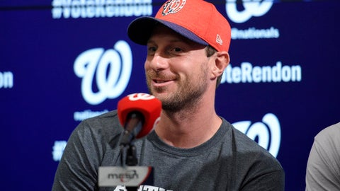 Washington Nationals All-Star pitcher Max Scherzer speaks during a press conference before a baseball game against the New York Mets, Monday, July 3, 2017, in Washington. (AP Photo/Nick Wass)