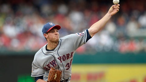 New York Mets starting pitcher Steven Matz delivers during the second inning of a baseball game against the Washington Nationals, Monday, July 3, 2017, in Washington. (AP Photo/Nick Wass)
