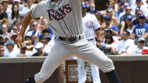 Tampa Bay Rays starting pitcher Chris Archer (22) delivers during the first inning of a baseball game against the Chicago Cubs on Tuesday, July 4, 2017, in Chicago. (AP Photo/Matt Marton)
