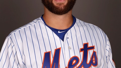 FILE - This is a 2017 file photo of Logan Taylor of the New York Mets. Taylor, a reliever with minor league baseball team the Las Vegas 51s, was attacked by a homeless man in an attempted robbery in Utah, forcing the team to place him on the disabled list. Taylor was hit in the head with a tire iron after the man approached him and demanded his wallet while he was walking down a street in Salt Lake City on Saturday, July 1, 2017. (AP Photo/David J. Phillip,File)
