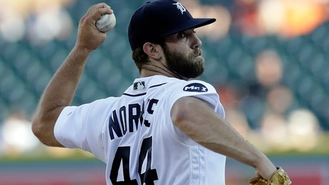 Detroit Tigers starting pitcher Daniel Norris throws during the first inning of the team's baseball game against the San Francisco Giants, Wednesday, July 5, 2017, in Detroit. (AP Photo/Carlos Osorio)