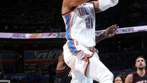 OKLAHOMA CITY, OK- APRIL 21: Andre Roberson #21 of the Oklahoma City Thunder goes for a lay up during the game against the Houston Rockets during the Western Conference Quarter-finals of the 2017 NBA Playoffs on April 21, 2017 at Chesapeake Energy Arena in Oklahoma City, Oklahoma. NOTE TO USER: User expressly acknowledges and agrees that, by downloading and or using this photograph, User is consenting to the terms and conditions of the Getty Images License Agreement. Mandatory Copyright Notice: Copyright 2017 NBAE (Photo by Layne Murdoch/NBAE via Getty Images)