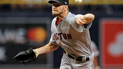 Boston Red Sox starter Chris Sale pitches against the Tampa Bay Rays, striking out the side, during the first inning of a baseball game Thursday, July 6, 2017, in St. Petersburg, Fla. (AP Photo/Steve Nesius)