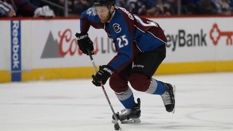 FILE - A Sunday, March 5, 2017, file photo of Colorado Avalanche center Mikhail Grigorenko in the first period of an NHL hockey game in Denver. Former Colorado Avalanche center Mikhail Grigorenko has returned to Russia, signing with Kontinental Hockey League club CSKA Moscow. Grigorenko had been an unrestricted free agent in the NHL after his contract with Colorado expired. (AP Photo/David Zalubowski, File)