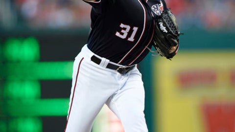 Washington Nationals starting pitcher Max Scherzer delivers during the third inning of a baseball game against the Atlanta Braves, Friday, July 7, 2017, in Washington. (AP Photo/Nick Wass)