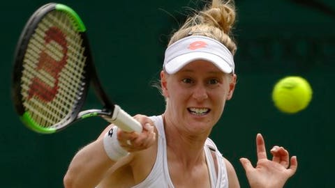 Alison Riske of the United States returns to Coco Vandeweghe of the United States during their Women's Singles Match on day six at the Wimbledon Tennis Championships in London Saturday, July 8, 2017. (AP Photo/Alastair Grant)
