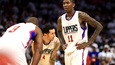 LOS ANGELES, CA - APRIL 30:  Jamal Crawford #11, JJ Redick #4 and Chris Paul #3 of the Los Angeles Clippers look on during the second half of Game Seven of the Western Conference Quarterfinals against the Utah Jazz  at Staples Center at Staples Center on April 30, 2017 in Los Angeles, California.  NOTE TO USER: User expressly acknowledges and agrees that, by downloading and or using this photograph, User is consenting to the terms and conditions of the Getty Images License Agreement.  (Photo by Sean M. Haffey/Getty Images)