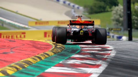 Red Bull driver Daniel Ricciardo of Australia steers his car during the Austrian Formula One Grand Prix at the Red Bull Ring in Spielberg, Austria, Sunday, July 9, 2017. (AP Photo/Darko Bandic)