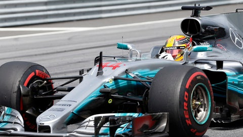 Mercedes driver Lewis Hamilton of Britain steers his car during the Austrian Formula One Grand Prix at the Red Bull Ring in Spielberg, Austria, Sunday, July 9, 2017. (AP Photo/Darko Bandic)