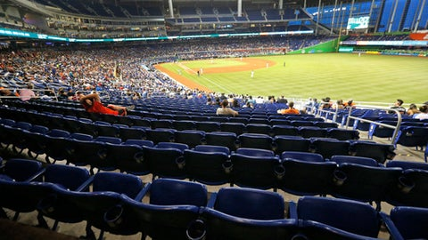 In this Tuesday, June 27, 2017, photo, a section of mostly empty seats is shown during the fourth inning of a baseball game between the Miami Marlins and the New York Mets at Marlins Park stadium in Miami. As the All-Star Game comes to Florida for the first time, the Marlins and Tampa Bay Rays continue their perennial struggles with attendance, raising the question: Does major league baseball belong in the state? (AP Photo/Wilfredo Lee)