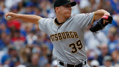 Pittsburgh Pirates starting pitcher Chad Kohl throws against the Chicago Cubs during the first inning of a baseball game Sunday, July 9, 2017, in Chicago. (AP Photo/Nam Y. Huh)