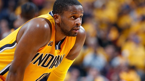INDIANAPOLIS, IN - APRIL 20: CJ Miles #0 of the Indiana Pacers reacts against the Cleveland Cavaliers in game three of the Eastern Conference Quarterfinals during the 2017 NBA Playoffs at Bankers Life Fieldhouse on April 20, 2017 in Indianapolis, Indiana. The Cavaliers defeated the Pacers 119-114 to take a 3-0 lead in the series. NOTE TO USER: User expressly acknowledges and agrees that, by downloading and or using the photograph, User is consenting to the terms and conditions of the Getty Images License Agreement. (Photo by Joe Robbins/Getty Images)