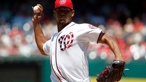 Washington Nationals starting pitcher Joe Ross throws during the third inning of a baseball game against the Atlanta Braves at Nationals Park, Sunday, July 9, 2017, in Washington. (AP Photo/Alex Brandon)