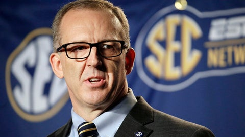 FILE - In this March 13, 2015, file photo, Southeastern Conference Commissioner Greg Sankey speaks before an NCAA college basketball game in Nashville, Tenn. Sankey kicks off SEC media days in suburban Birmingham, Ala., on Monday, July 10, 2017, with his annual state of the league address. (AP Photo/Mark Humphrey, File)