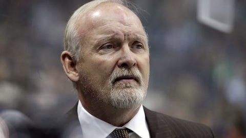 Dallas Stars head coach Lindy Ruff watches play against the Minnesota Wild in the first period of an NHL hockey game in Dallas, Saturday Jan. 14, 2017. (AP Photo/LM Otero)