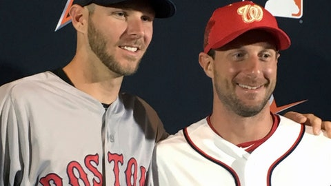 American League pitcher Chris Sale, of the Boston Red Sox, left, poses with National League pitcher Max Scherzer, of the Washington Nationals after the All-Star starting pitchers were introduced at a press conference in Miami, Monday, July 10, 2017. (AP Photo/Ron Blum)