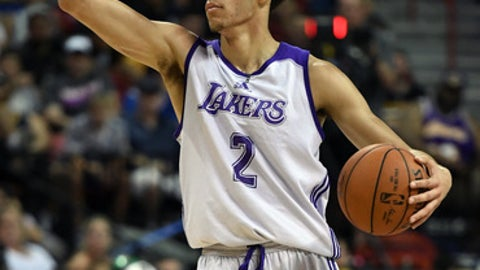 LAS VEGAS, NV - JULY 08:  Lonzo Ball #2 of the Los Angeles Lakers sets up a play against the Boston Celtics during the 2017 Summer League at the Thomas & Mack Center on July 8, 2017 in Las Vegas, Nevada. Boston won 86-81. NOTE TO USER: User expressly acknowledges and agrees that, by downloading and or using this photograph, User is consenting to the terms and conditions of the Getty Images License Agreement.  (Photo by Ethan Miller/Getty Images)