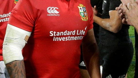 "In this June 24, 2017 photo, Lions replacement prop Kyle Sinckler leaves the field following the first rugby test between the British and Irish Lions and the All Blacks at Eden Park in Auckland, New Zealand. Sinckler was arrested for ""minor disorder"" hours after Saturday's third test against the All Blacks in Auckland Sunday July 9, but was released without charge, police said. (AP Photo/Mark Baker)"