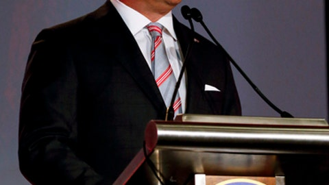 Georgia NCAA college football coach Kirby Smart speaks during the Southeastern Conference's annual media gathering, Tuesday, July 11, 2017, in Hoover, Ala. (AP Photo/Butch Dill)