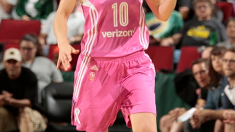 SEATTLE, WA - JULY 8: Sue Bird #10 of the Seattle Storm handles the ball against the Los Angeles Sparks on July 8, 2017 at Key Arena in Seattle, Washington. NOTE TO USER: User expressly acknowledges and agrees that, by downloading and/or using this Photograph, user is consenting to the terms and conditions of Getty Images License Agreement. Mandatory Copyright Notice: Copyright 2017 NBAE (Photo by Joshua Huston/NBAE via Getty Images)