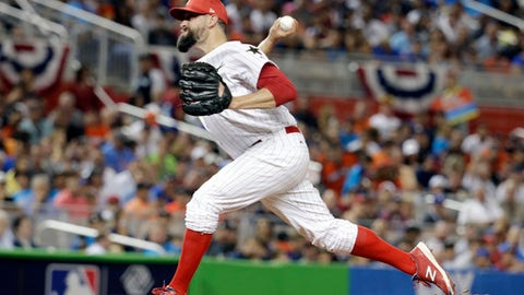 National League's Philadelphia Phillies pitcher Pat Neshek (17), throw the ball during the second inning at the MLB baseball All-Star Game, Tuesday, July 11, 2017, in Miami. (AP Photo/Lynne Sladky)