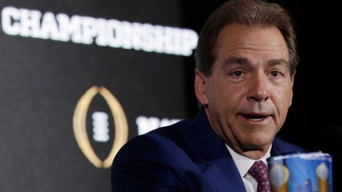 FILE - In this Jan. 8, 2017, file photo, Alabama head coach Nick Saban answers questions during a news conference for the NCAA college football playoff championship game in Tampa, Fla. It's Nick Saban and Alabama's turn at Southeastern Conference media days. The contingent from the Crimson Tide, the popular pick to win a fourth straight SEC title, makes the short trip from Tuscaloosa and as usual is expected to greeted by a large group of fans in the hotel lobby. (AP Photo/David J. Phillip, File)