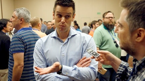 FILE - In this Nov. 9, 2016, file photo, Seattle Mariners general manager Jerry Dipoto talks to the media during baseball's annual general managers meeting, in Scottsdale, Ariz. Trying to define who the Mariners are heading into the second half of the season is a challenge and leaves the club in a difficult spot of only having a short time in July to decide how to move forward for the final two months of the season. (AP Photo/Ross D. Franklin, File)