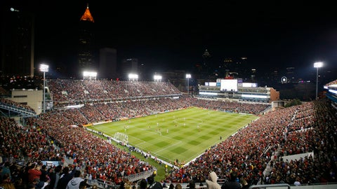 This Sunday, March 5, 2017, photo, shows a general view of Bobby Dodd Stadium in the second half of an MLS soccer game between the New York Red Bulls and Atlanta United FC, in Atlanta. Atlanta leads the MLS in attendance, averaging 46,482 fans per game through eight home matches. The Seattle Sounders, the longtime MLS league-leaders in attendance, are second with 42,628 per game. (AP Photo/Todd Kirkland)