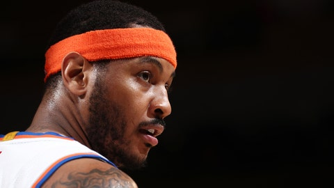 NEW YORK, NY - APRIL 6:  Carmelo Anthony #7 of the New York Knicks looks on during a game against the Washington Wizards on April 6, 2017 at Madison Square Garden in New York City, New York. NOTE TO USER: User expressly acknowledges and agrees that, by downloading and/or using this photograph, user is consenting to the terms and conditions of the Getty Images License Agreement. Mandatory Copyright Notice: Copyright 2017 NBAE (Photo by Nathaniel S. Butler/NBAE via Getty Images)